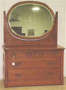 602: Extra Fine Tiger Oak Dresser. Measure: 6