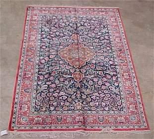6' x 9' Art Silk Tabriz Blue & Coral Con