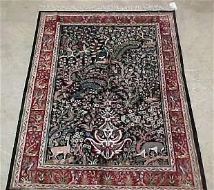 4'6 x 6'6 Art Silk Tabriz Forest Scene,