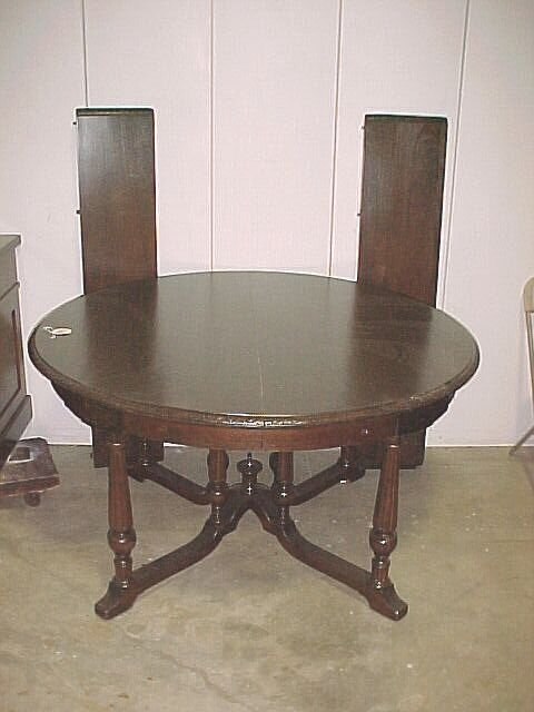 """285: 54"""" Round Walnut Dining Table with carve"""