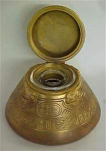 347: Solid Brass Tiffany & Co. Inkwell with E
