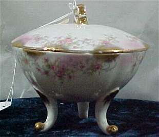 Lefton Footed Dish with Lid Cond: Excel