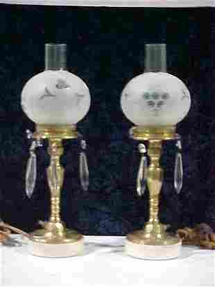 Pair of Brass Hurricane Lamps w/ Beauti