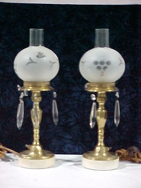 2214: Pair of Brass Hurricane Lamps w/ Beauti