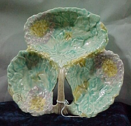 2215: English Majolica Dish Cond: Excellent M