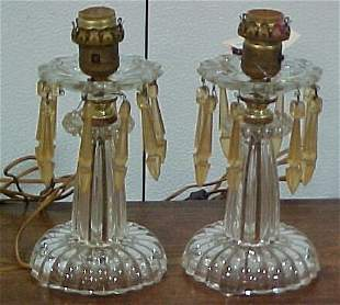 Pair of Luster Lamps with prizms origin