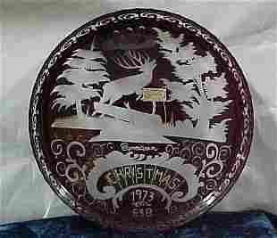 Bohemia Crystal Christmas Plates Ruby R
