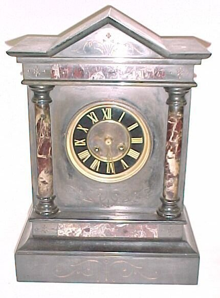 2264: Victorian Double Column Marble Clock Co