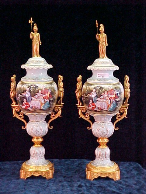 1015: PR LARGE PORCELAIN URNS W/ADORIE BRONZE MOUNTINGS