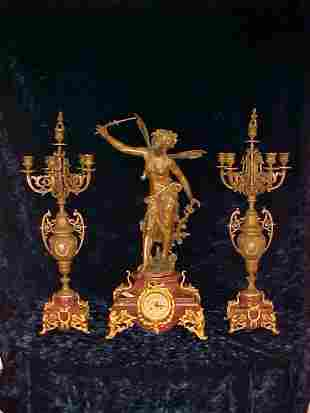 ANTIQUE FRENCH FIGURAL MOUNTED CLOCK & CANDELABRA