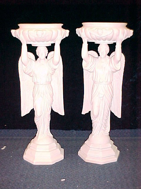 1020: VICTORIAN ERA CARVED MARBLE FIGURAL ANGEL PLANTER
