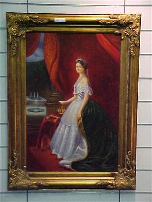OIL ON CANVAS PRINCESS AT HER CORONATION
