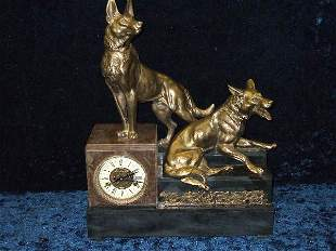 FRENCH STYLE MARBLE FIGURAL DOG CLOCK