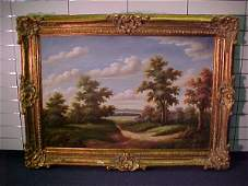 1076: LARGE OIL ON CANVAS LANDSCAPE