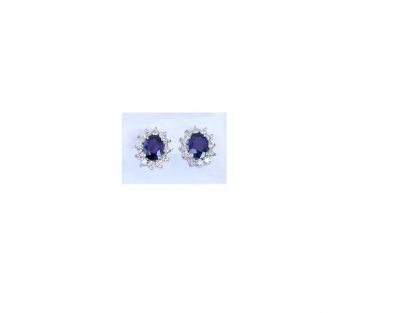 1000: 14K WHITE GOLD EARRINGS W/SAPPHIRES