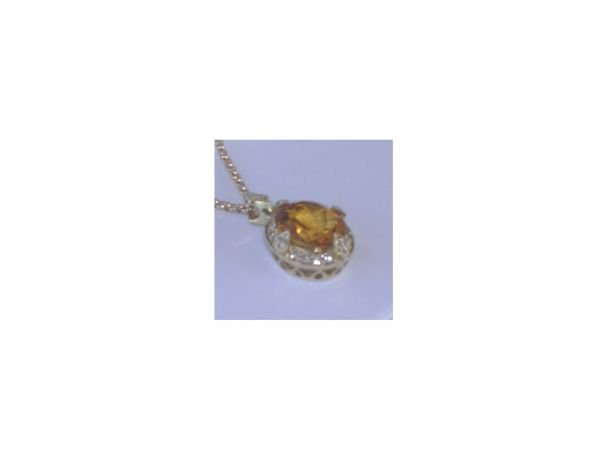 1001: 14K YELLOW GOLD PENDANT 3.00CT CITRINE CENTERSTON
