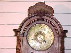 55: ANTIQUE OAK GERMAN GRANDFATHER CLOCK CIRCA 1900'S