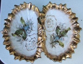 1315: ANTIQUE DIVIDED DISH WITH  HANDLE