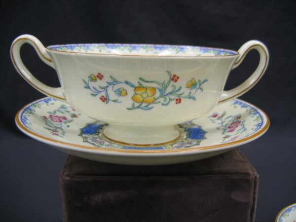 1200: ROYAL DOULTON 2 HANDLED CREAM SOUP W/ UNDERPLATE