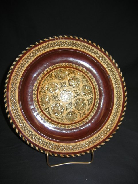 1206: TRAY--PERSIAN--INLAID--WOODEN-- A BEAUTY