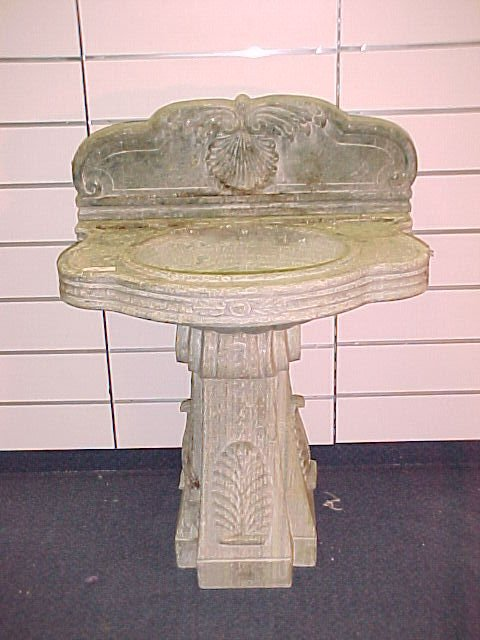1220: MARBLE SINK ON PEDESTAL WITH RELIEF CARVINGS