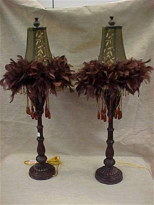LAMPS W/FEATHERED SHADES-AMBER COLORED PRISMS