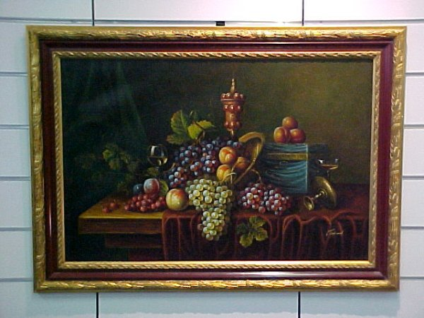 5: OIL ON CANVAS OF GRAPES & FRUIT ON GOLD GILDED FRAME