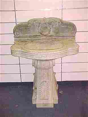 MARBLE SINK ON PEDESTAL WITH RELIEF CARVINGS