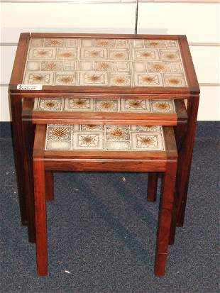 MODERN ROSEWOOD STACK TABLES WITH TILE TOPS
