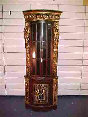 CARVED EGYPTIAN STYLE CORNER CABINET WITH GOLD GILD