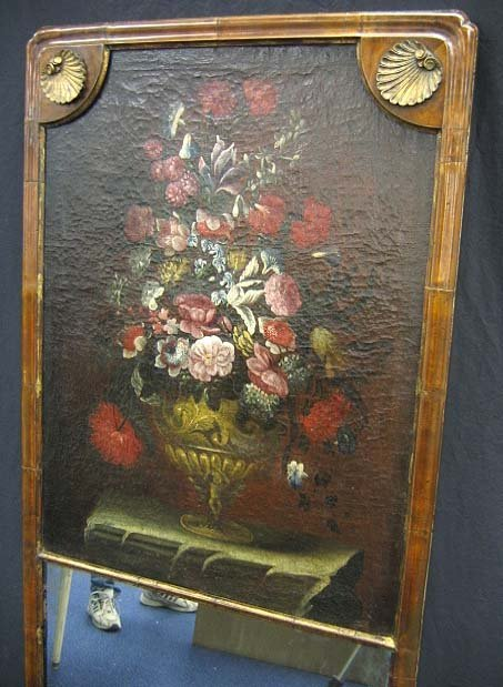 221: FRENCH TRUMEAU MIRROR WITH OIL PAINTING