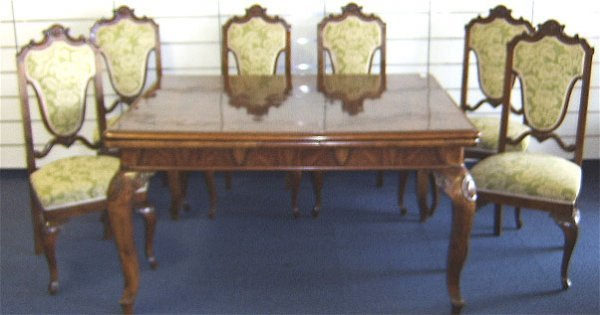 1813: FRENCH STYLE BURLED WALNUT DINING TABLE -6 CHAIRS