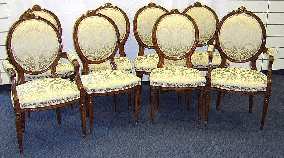 1819: CARVED MAHOGANY DINING CHAIRS SET OF 8