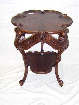 MAHOGANY PARLOR TABLE-CARVED DRAGONFLYS