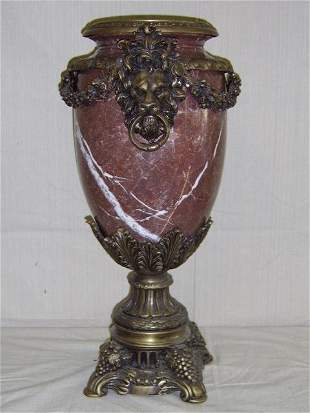 MARBLE OVOID FORM GILT-BRONZE MOUNTED URN
