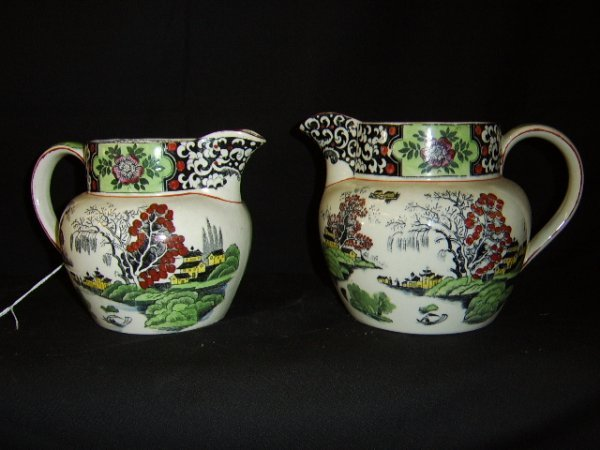 """1107: DERBYSHIRE """"MING"""" WILLOW GRADED JUGS-T.G.GREEN CO"""