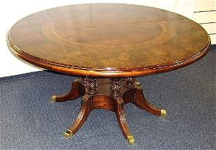 INLAYED BANDED-ROUND MAHOGANY DINING TABLE