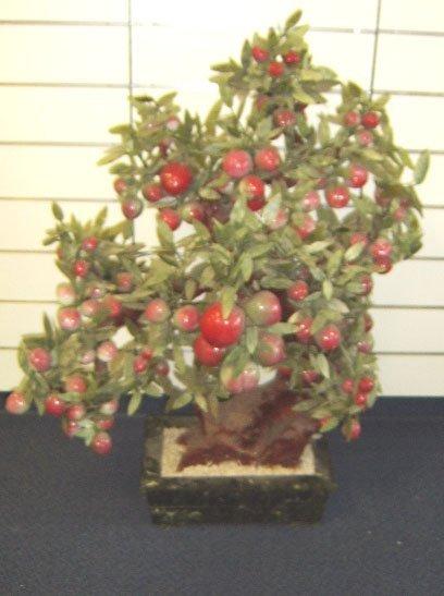 1120: ORIENTAL- VINTAGE JADE TREE IN MARBLE PLANTER