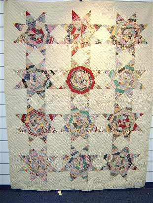 QUILT-8 STAR FEED SACK 1920'S