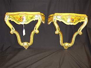 PR. FRENCH STYLE POLYCHROME PAINTED CONSOLES