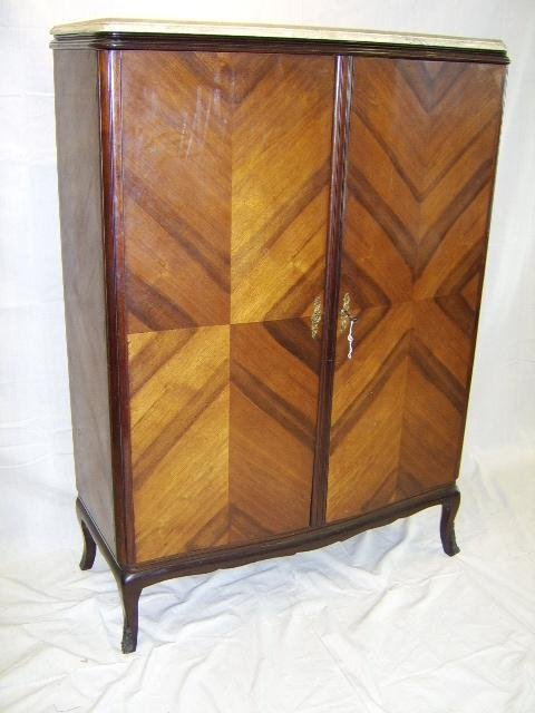 19: FRENCH 2 DOOR MARBLE TOP BAR CABINET