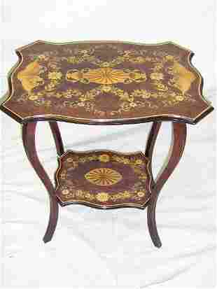 WALNUT OCCASIONAL TABLE-HAND PAINTED 1900'S