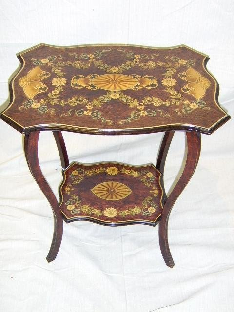 20: WALNUT OCCASIONAL TABLE-HAND PAINTED 1900'S