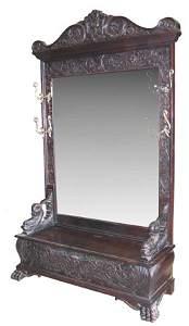 155: R. J. HORNER STYLE CAVED MAHOGANY HALL SEAT