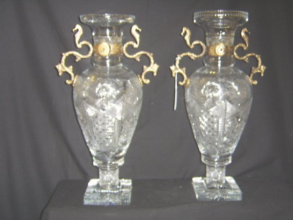 1362: CUT CRYSTAL & BRONZE MOUNTED VASES- LARGE