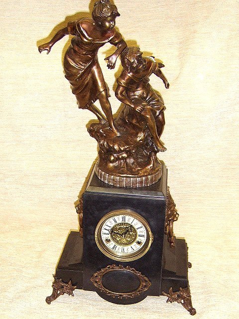 1363: FRENCH STYLE BRONZE & MARBLE FIGURAL CLOCK