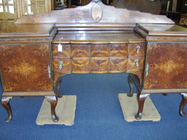 1364: QUEEN ANNE STYLE CARVED MAHOGANY BUFFET