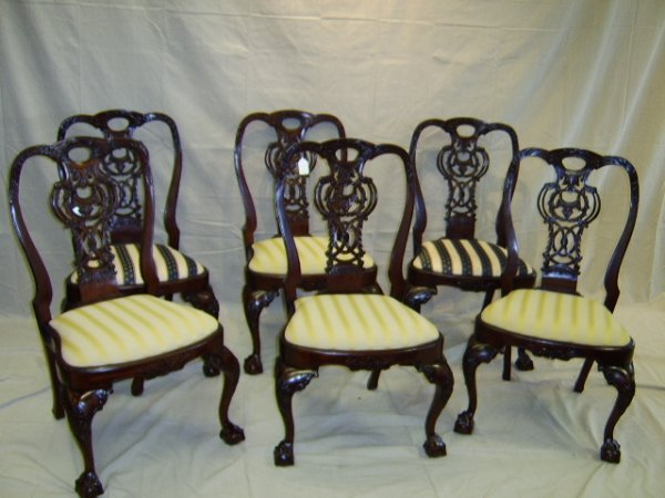 1366: MAHOGANY BALL & CLAW DINING CHAIRS-SET OF SIX