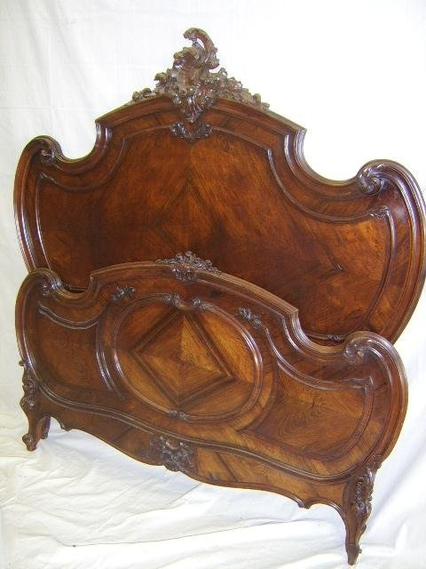 1370: LOUIS XV ROCOCO STYLE INLAID ROSEWOOD BED 1880'S