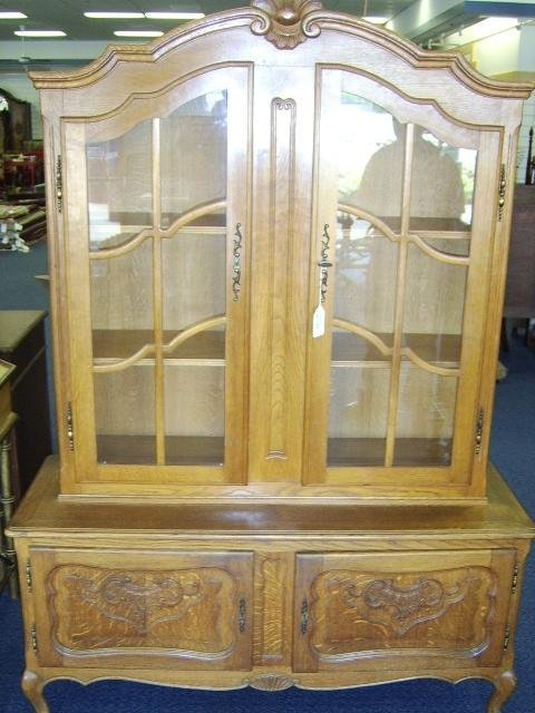 1373: LOUIS XV PROVINCIAL STYLE OAK  CHINA CABINET